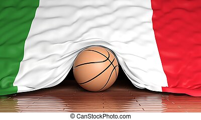 Basketball ball with flag of Italy on parquet floor