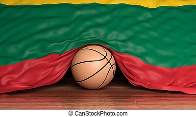 Basketball ball with flag of Lithuania on parquet floor