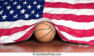 Basketball ball with flag of USA on parquet floor