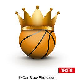 Basketball ball with royal crown. King of sport. Traditional...
