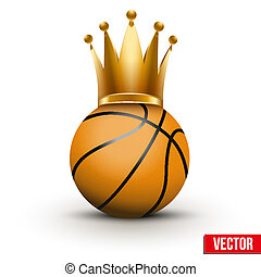 Basketball ball with royal crown of queen