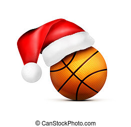 Basketball ball with Santa Claus hat. Illustration isolated on white