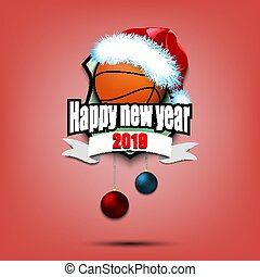 Basketball ball with santa hat and happy new year