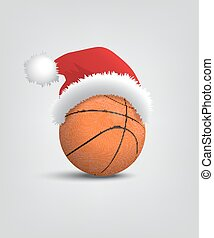 Basketball ball with santa hat. Vector Christmas and New...