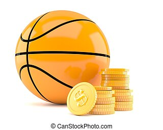 Basketball ball with stack of coins