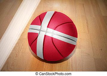 basketball ball with the national flag of denmark
