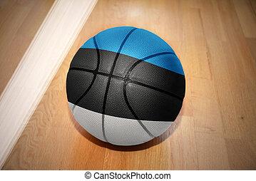 basketball ball with the national flag of estonia