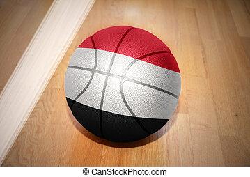 basketball ball with the national flag of yemen