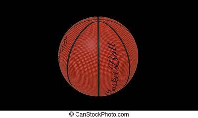 Basketball ball with the words basketball rotates loop on a...