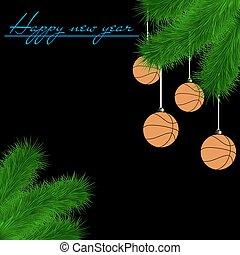Basketball balls on Christmas tree branch