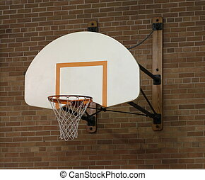 basketball- band, in, altes , turnhalle