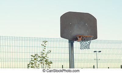 Basketball basket against the sky