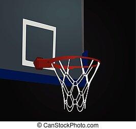 Basketball basket on black background