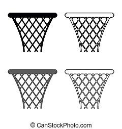 Basketball basket Streetball net basket icon set grey black color illustration outline flat style simple image