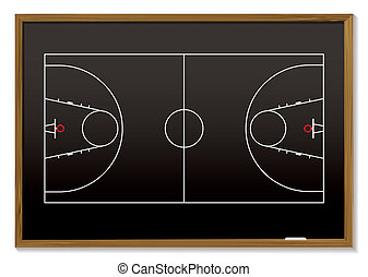 basketball blackboard - black board with outline of...