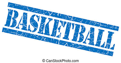 basketball blue square grungy isolated rubber stamp