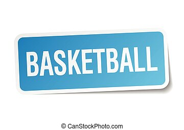 basketball blue square sticker isolated on white