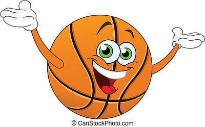 Basketball - Cartoon basketball raising his hands