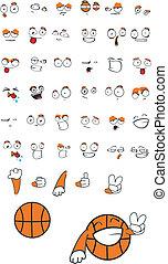 basketball cartoon set