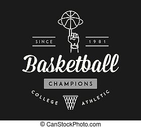 Basketball champions white on black