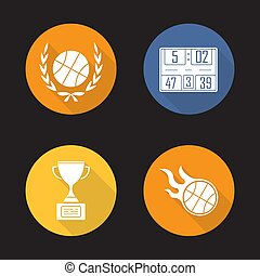 Basketball championship flat design long shadow icons set