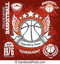 Basketball championship logo set and design elements