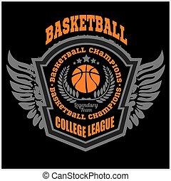 Basketball championship logo set and design elements on dark...