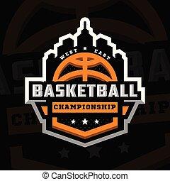 Basketball championship, sports logo, emblem on a dark background. Vector illustration.