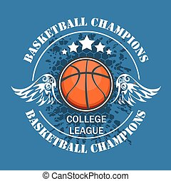 Basketball championship - vector emblem for t-shirt