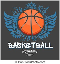 Basketball championship - vector emblem for t-shirt - ...