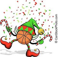 Basketball Christmas Elf - A basketball celebrating ...