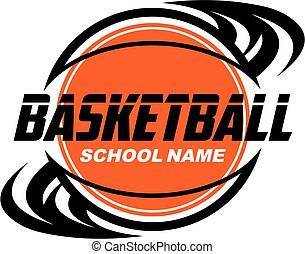 basketball team design with ball and swishes for school,...