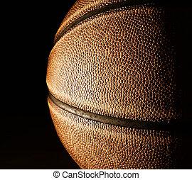 Basketball closeup on black