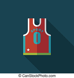 basketball clothing flat icon with long shadow, eps10