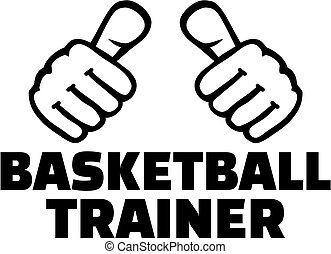 Basketball Coach with thumbs. German word.