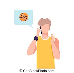 Basketball Coach Working Online at Home Using Smartphone, Social Distancing or Self Isolation Concept Flat Vector Illustration