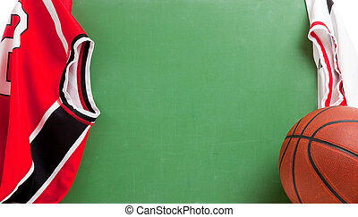 Basketball coach's chalkboard with jerseys