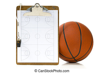 Clipboard, whistle, clipbaord and ball - items a coach would use when coaching or teaching basketball on white background