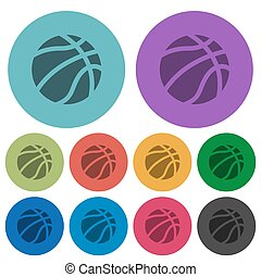 Basketball color darker flat icons