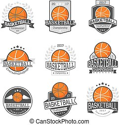 Basketball Competitions Emblems Set