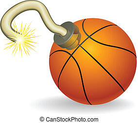 Basketball countdown illustration - Time bomb in shape of...