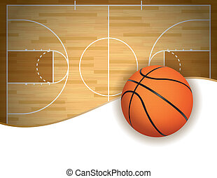 Basketball Court and Ball Background - An illustration of a...