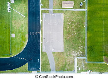 Basketball court and running tracks aerial view