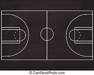 Basketball court blackboard illustration - Basketball court...