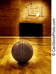 Basketball Court Competition - Basketball on wooden floor of...