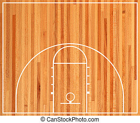 Basketball court floor plan on parquet background