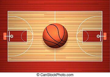 Basketball court floor top view - Basketball hardwood court...