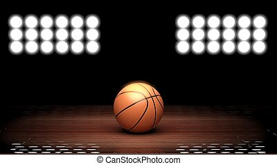 Basketball court floor with ball and back lighting on black