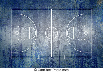 Basketball court floor with line on blue grunge background