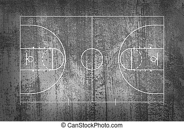 Basketball court floor with line on black grunge background